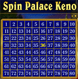 Keno card at spin palace casino